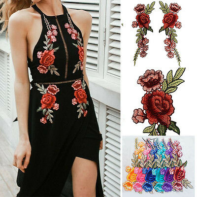 2pcs Rose Flower Embroidery Sew Iron On Patches Badge Jeans Dress Applique Craft