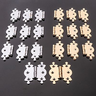 "10 x BUTTERFLY BUTT HINGES 2"" Brass/Polished Chrome Ornate Fancy Cupboard/Door"