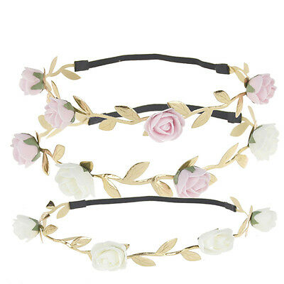 1PCS Rose Flower Baby Kids Girls Gold Leaf Sweet Hair band Crown Headband