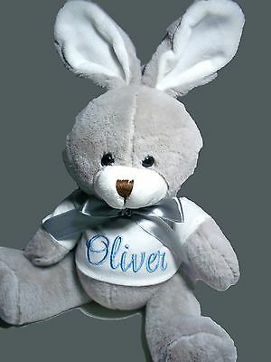 Personalised Bunny Soft Toy Any Name Baby Gift or Birthday Get Well Gift 24cm