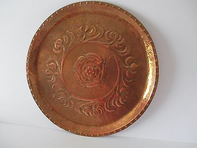Large Arts And Crafts Style Copper Tray - Yorkshire Rose