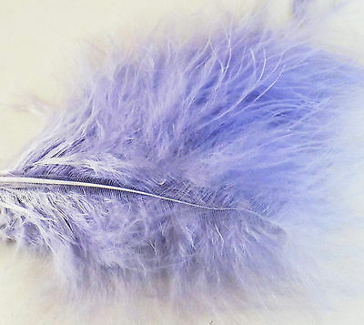 Large Pale Mauve Lilac Fluffy Marabou Feathers x 12 - 3 to 5 inch approx