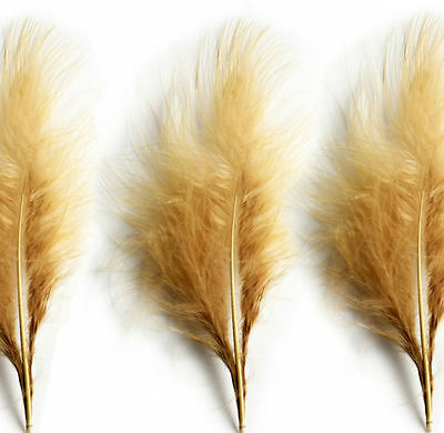 Large Beige Fluffy Marabou Feathers x 12 - 3 to 5 inch approx