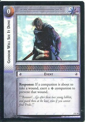 Lord Of The Rings CCG Foil Card MoM 2.U34 Gondor Will See It Done