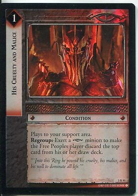 Lord Of The Rings CCG Foil Card RotEL 3.R91 His Cruelty And Malice