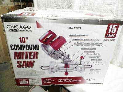 """Chicago Electric 10"""" Compound Miter Saw model 91995 15 amp  5300RPM  in orig Box"""