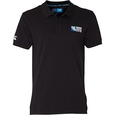CANTERBURY RUGBY 2015 WORLD CUP No.8 Mens Polo Shirt Black Size X/L