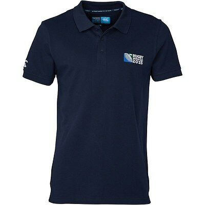 CANTERBURY RUGBY WORLD CUP 2015 Mens No.8 Plain Polo Shirt Navy Size X/L