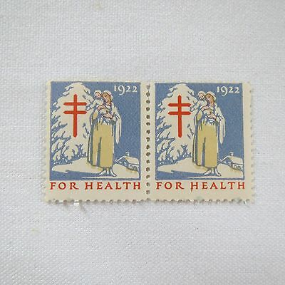 """2 Pair US~1922 FOR HEALTH """"American Lung Association"""" Stamps Seal MUH"""