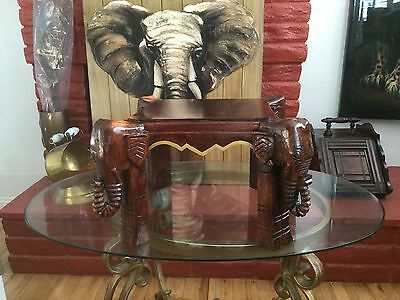Vintage hand Carved Wood Elephant Table from India