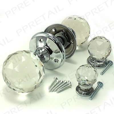 ~MIX & MATCH~SOLID GLASS CRYSTAL BALL KNOBS Kitchen Cupboard Door Mortice Handle