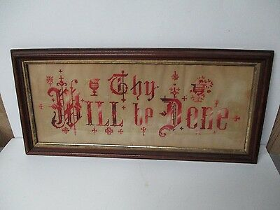 Very Old Berlinwerk - THY WILL BE DONE - Hand Work on Punched Paper - Framed