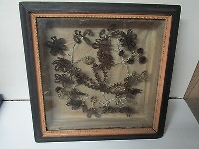 "Gorgeous Victorian Hair Art Floral Flowers in Shadow Box - 13"" Square"