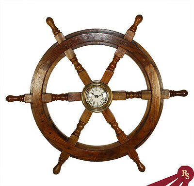 "24"" SHIP WHEEL CLOCK - Wood w/ Brass - NAUTICAL CLOCKS"