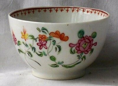 C18Th Chinese Tea Bowl With Hand Painted Flowers