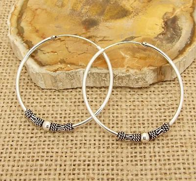 Bali Style Sterling 925 Silver 4cm 40mm Hoop Sleeper Earrings