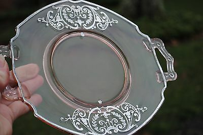 Antique Pink Sterling Silver Overlay Two Handled Plate So Pretty