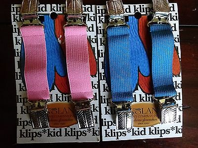 new 2 Sets BLUE PINK Kids Child GLOVE MITTEN COAT CLIPS WInter Clips UNISEX
