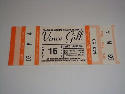 VINCE GILL Original Unused July 16 1997 Ticket Warwick Musical Theater Rhode Isl
