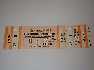 The Doobie Brothers Unused 1982 Concert Tour Ticket Las Vegas Nevada Usa
