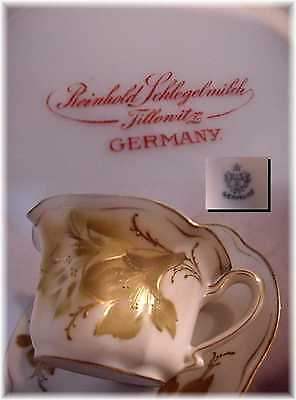 Antique Rs Germany Prussia Ruffled Tea Cup And Saucer Gold Floral Lily !