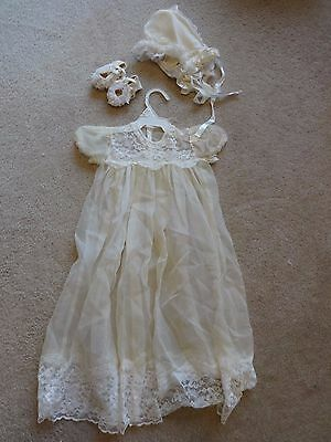 Vintage Sheer Ivory Christening Gown with Bonnet & Shoes As Is