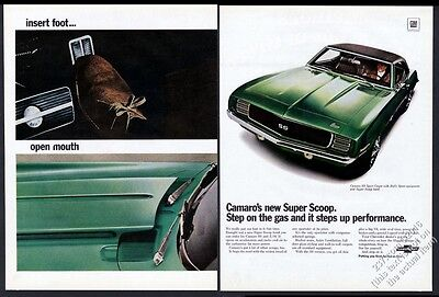 1969 Chevrolet Camaro SS RS green car 3 color photo Chevy vintage print ad