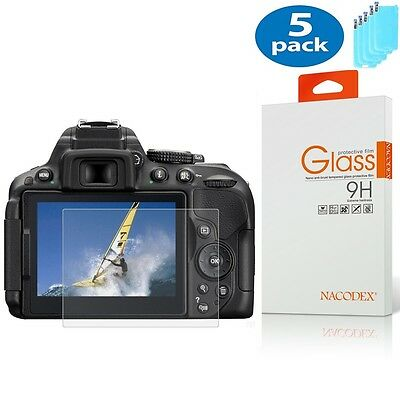 [5x] Nacodex For Nikon D5300 D5500 HD Tempered Glass Screen Protector