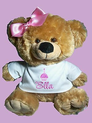 Personalised Teddy Bear  1st Birthday Gift Any Name 25cm sitting Pink or Blue
