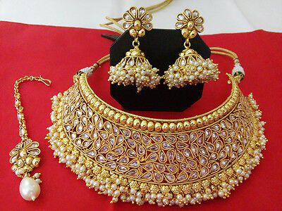 New Indian Fashion Jewelry Choker Necklace Set Bollywood Ethnic Gold Traditional