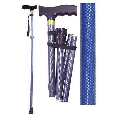 Aidapt Folding & Extendable Patterned Walking Stick Floral Blue Black White