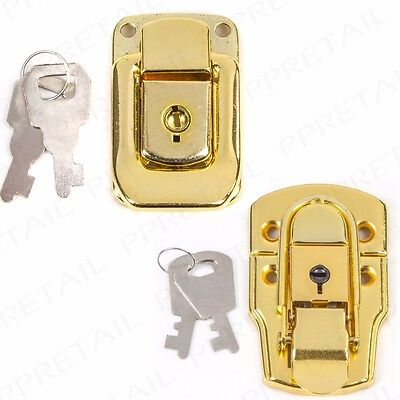 BRASS TOGGLE LOCK + Keys SMALL/LARGE Case Suitcase Box Trunk Chest Latch Clip