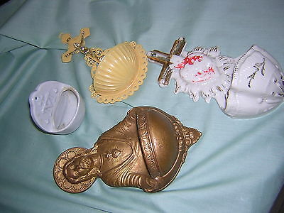 4 pc Lot of Vintage Catholic Religious Holy Water Fonts