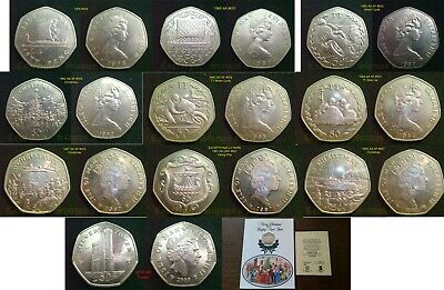 ISLE of MAN 50p Pence 1976 to 2013 with Diff Mint Marks PLEASE READ DESCRIPTION
