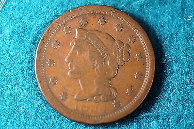 ESTATE FIND 1854 Braided Hair Large Cent!! #F2688