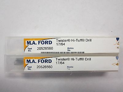 "Lot of 2 M.A.Ford 25535 HD Solid Carbide 17/64"" Stub Length Drill Bits USA NEW"