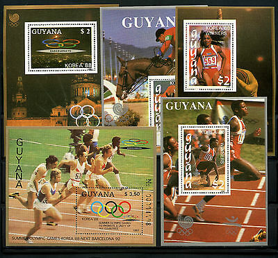 Guyana, Hoja Bloque, The Olympic - Barcelona 1992, (5)