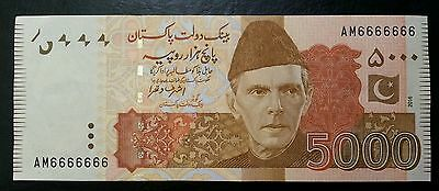 Pakistan 5000 Rupees Solid Fancy # Am6666666 Ashraf Wathra 2016 Unc L@@k!!!