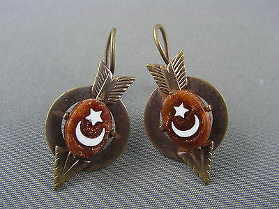 Antique Victorian Pinchbeck Goldstone Arrow Moon & Star Earrings