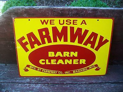 Vintage Farmway Barn Cleaner Sign - Double Sided Metal Farm Dairy Sign MANAWA WI