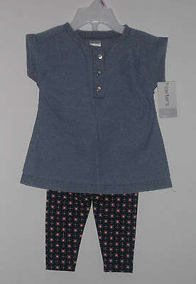 New WT Carter's Baby Girl 2 Piece Spring Tunic Dress & Pants Set  Size 9 Months