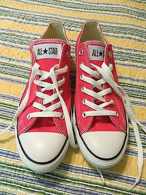 NEW Womens Size 10 Dark Neon Pink CONVERSE ALL STARS Canvas Shoes NICE!