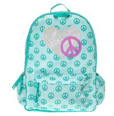 Claire's Green PEACE Print Backpack Bookbag New with Tags