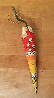 "Vintage Large 10"" Paper Mache CARROT Christmas Ornament - Victorian Decorated"
