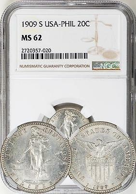Philippines US 1909-S 20 Centavos NGC MS-62 (Rare - Key Date with low mintage)