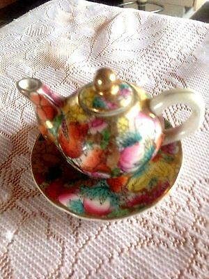 Vintage Small Teapot on Plate with Flowers & Gold Trim. Good Condition.