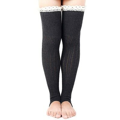 Black Urban Outfitters Over Knee Toeless Leg Warmers Lace Crochet Boot Socks