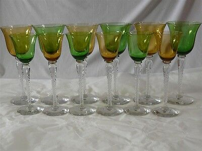 Set Of 12  Green & Amber Crystal Twisted Stems 6 Wines & 6 Cordials
