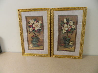 2 Home Interiors Magnolia Topiary Pictures By Barbara Mock Gold Wood Frames