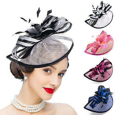Womens Sinamay Quill Fascinator Cocktail Hats Royal Ascot Ladies' Day A268